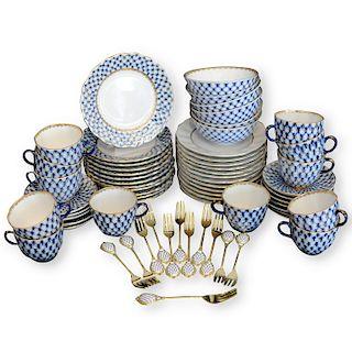 """(66 Pc) Russian Imperial Lomonosov """"Cobalt Net"""" Porcelain Set"""