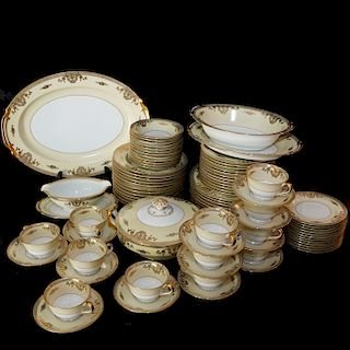 """(89 Pc) Noritake """"Goldlea"""" Porcelain Dinner Set"""
