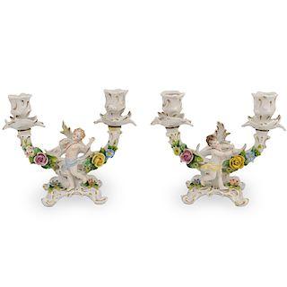 (2 Pc) Sitzendorf Porcelain Candle Holders