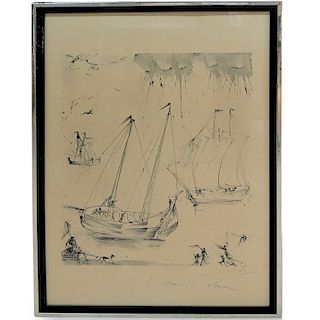"""Salvador Dali (1904-1989) """"The Departure of the Fisherman"""" Lithograph"""