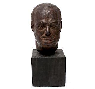 Segal Signed Painted Plaster Portrait Sculpture