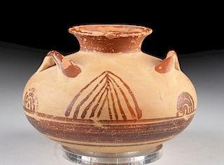 Greek Mycenaean Bi-Chrome Pottery Pyxis