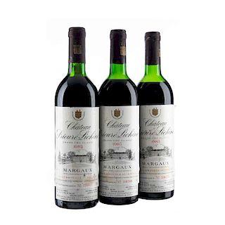 Château Prieure Lichine. Cosecha 1985. Margaux. Niveles: dos en la punta del hombro y uno en el hombro superior. Piezas: 3.