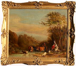 19th C. Bucolic Landscape With Figures