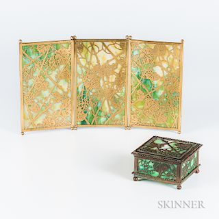 Tiffany Studios Grapevine-pattern Tea-screen and Box
