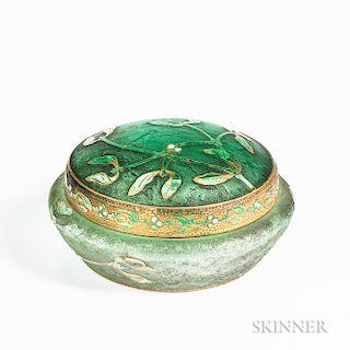 Daum Nancy Art Glass Round Covered Box