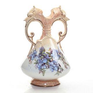 DOULTON BURSLEM TWIN HANDLED ART VASE, PURPLE FLOWERS