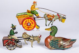 Three tin lithograph wind-up toys