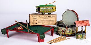 Six tin lithograph toys