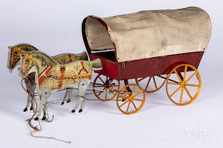 Gibbs paper lithograph over wood horse drawn wagon