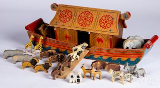 Painted wood Noah's Ark pull toy
