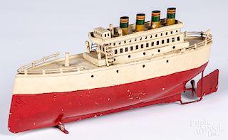 Painted tin clockwork ocean liner