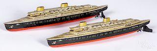 Two Kellerman US Zone Germany wind-up ocean liners
