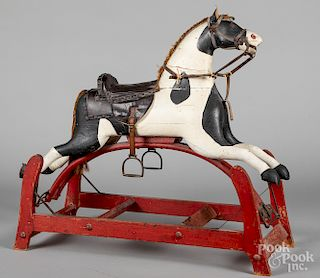 Carved and painted platform rocking horse