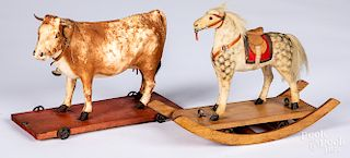 Two composition animal pull toys