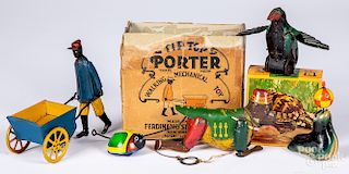 Group of tin wind-up toys