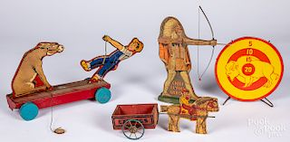 Miscellaneous paper lithograph over wood toys