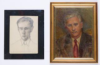 """Sofia """"Chola""""  Olivesky Sabsay (Argentine, 1924-2008) Two Portraits"""
