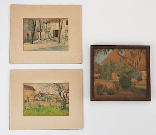 Paul Philippe Cret (French/American 1876-1945) Three Small Watercolors