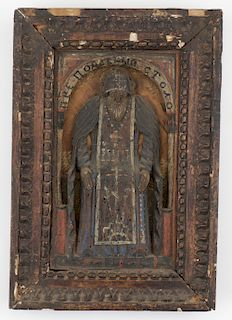 Russian Kustar Bas Relief Icon of St. Nilus, 19th Century