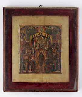 19th C. Russian Synodal Icon of the Theotokos Enthroned and Attendant Saints. Estate of