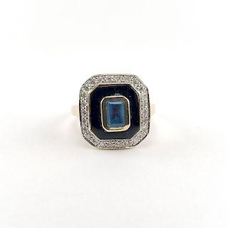 14K Gold, Diamond & Blue Topaz Ring