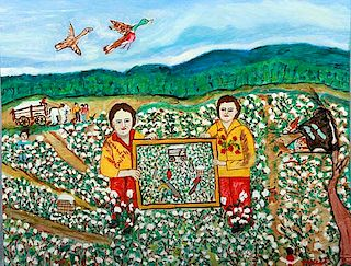 Outsider Art, Myrtice West, Estel and Myrtice in Cotton Field