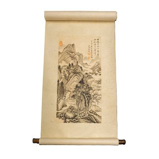 Firma sin identificar. Kakemono. Firmado en caligrafía y sellado. Tinta sobre papel algodón. Sin enmarcar. 200 x 52 cm.