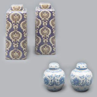 Lote de 2 pares de tibores. Origen oriental. SXX. En cerámica y porcelana. Acabado brillante. 41 x 16 x 16 cm y 28 x 21 cm. Ø