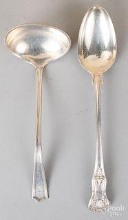 Georgian silver stuffing spoon, sterling ladle