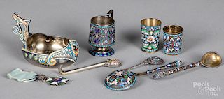 Group of Russian silver enamel