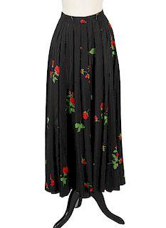 Yves Saint Laurent Black Sheen Roses Skirt Size 40