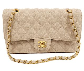 Chanel Medium Double Flap Linen Shoulder Bag