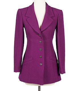 Chanel Boutique Plum Textured Wool Blazer Sz 36