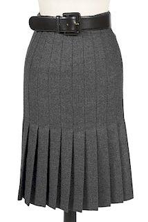 Valentino Pleated Wool Skirt & Black Leather Belt