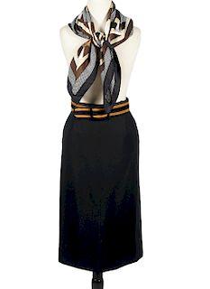 Yves Saint Laurent Wool Skirt, Scarf & Suede Belt