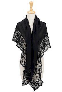 Vintage Valentino Night Silk Lace Shawl Wrap
