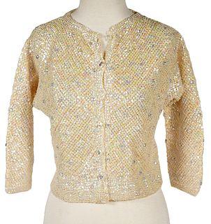 Laura Aponte Vintage Wool Sequin Cardigan