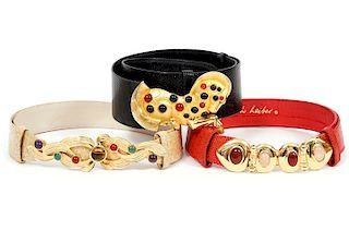 3 Judith Leiber Exotic Skin Jeweled Belts