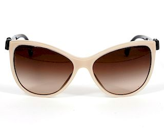 Chanel Beige & Black Bow Sunglasses 5281