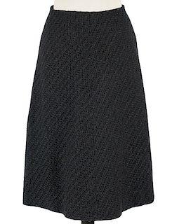 Chanel Blue & Black Tweed A-Line Skirt