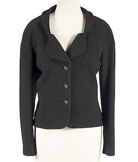 Chanel Wool & Silk Blazer Crystal Buttons Size 44