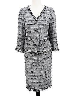 Chanel Black & White Tweed Fringe Suit Sz 40/42