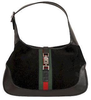 Gucci Vintage Black Suede Striped Shoulder Bag