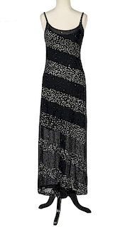 Escada Couture Black Beaded Evening Gown Size S