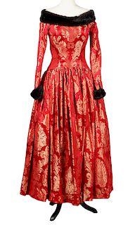 Escada Couture Brocade & Mink Evening Gown Size 36