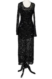 Escada Couture Black Beaded Evening Gown Size 36