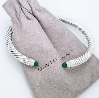 David Yurman 5mm. Classic Cable Diamond Bracelet Green