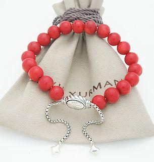 David Yurman Silver Spiritual 8mm Bead Red Coral