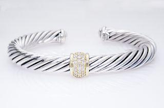 David Yurman Cable  7mm Diamond 18K Gold Bracelet